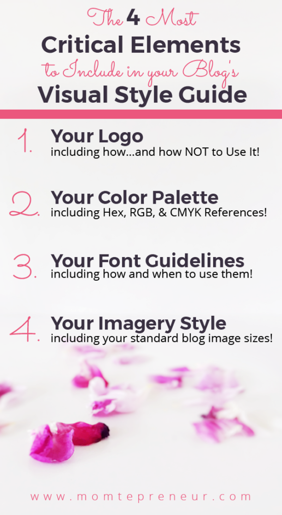 Style guide template indesign for your blog momtepreneur for Visual style guide template
