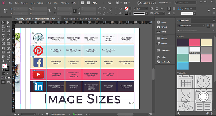 visual style guide template - style guide template indesign for your blog momtepreneur